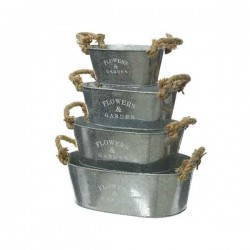 ZINC PLANTER WITH JUTE HANDLE