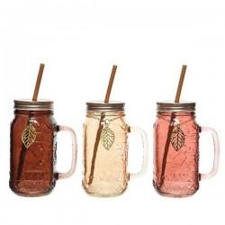 GL DRINKING JAR W STRAW 3CLAS