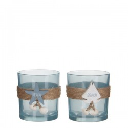 TEALIGHT HOLDER BLUE WHITE...